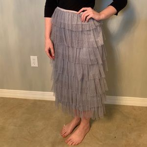 Grey Polka Dot Tulle Ruffle Skirt